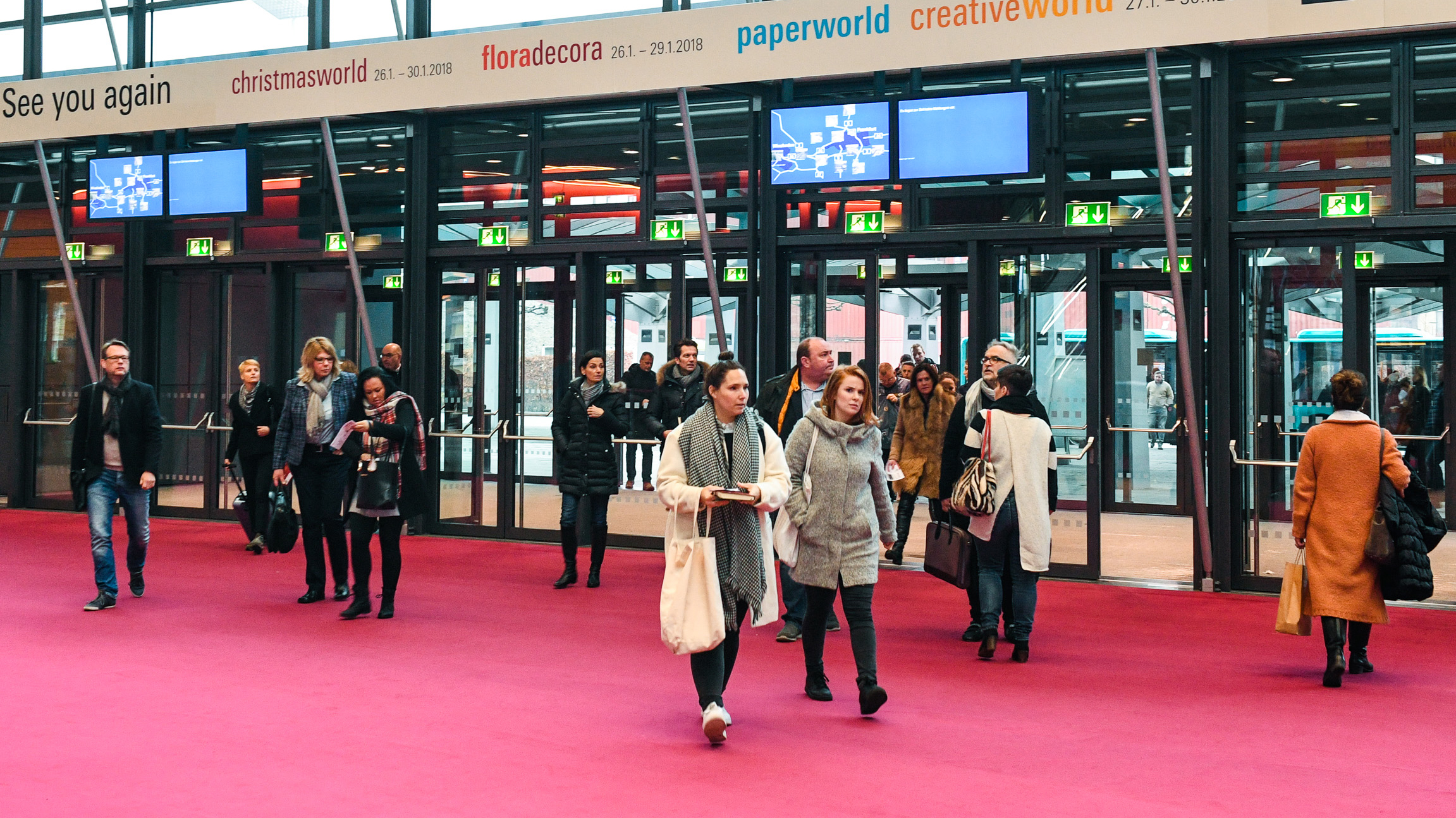 Trade visitors to the Frankfurt Exhibition Center