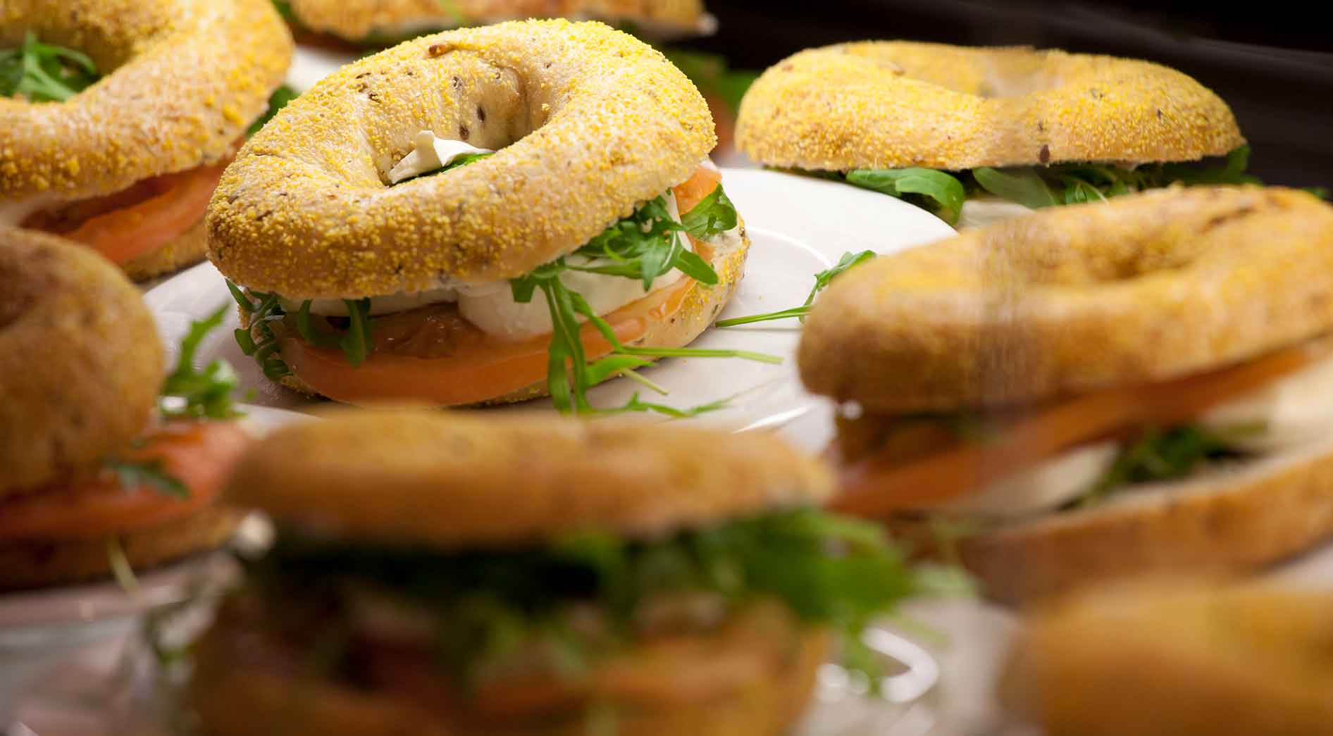 Catering: Bagel with salmon and cream