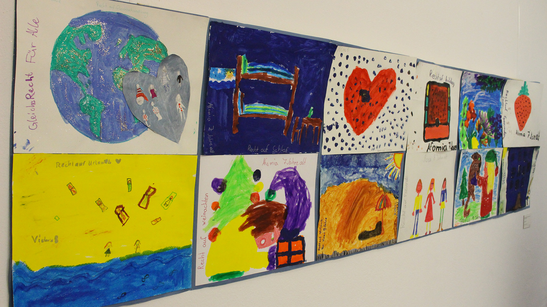 """Children's rights"" by Frida, Nike, Brielle, Rosa, Viktoria, Vivian and Afornia (6 – 9 years old) – mixed media on paper"