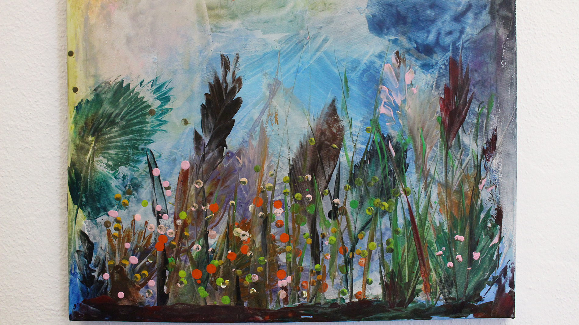 "KinderArt: ""The Meadow"", Nicol (aged 11) – wax, Indian ink, watercolour on canvas"