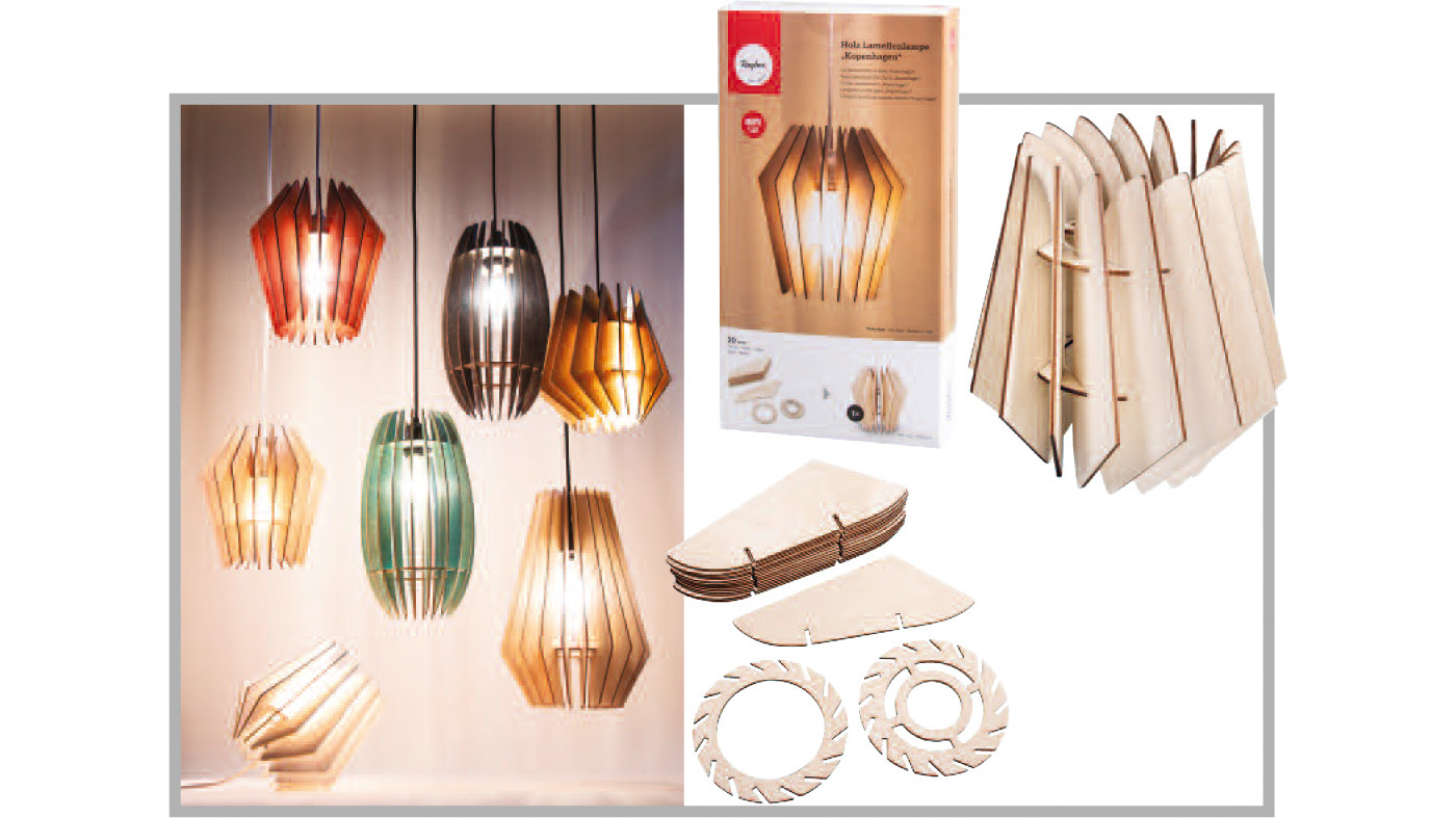 Sustainable Product: slatted wood lamps by Rayher Hobby