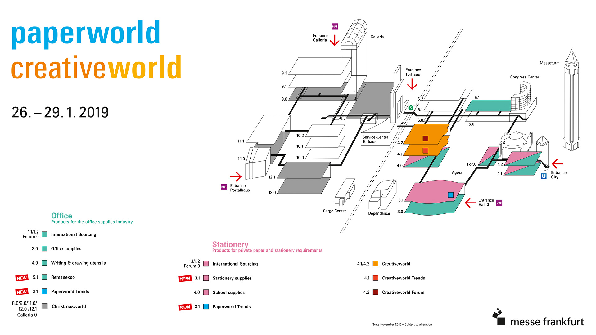 Exhibition hall plan for Paperworld and Creativeworld 2019