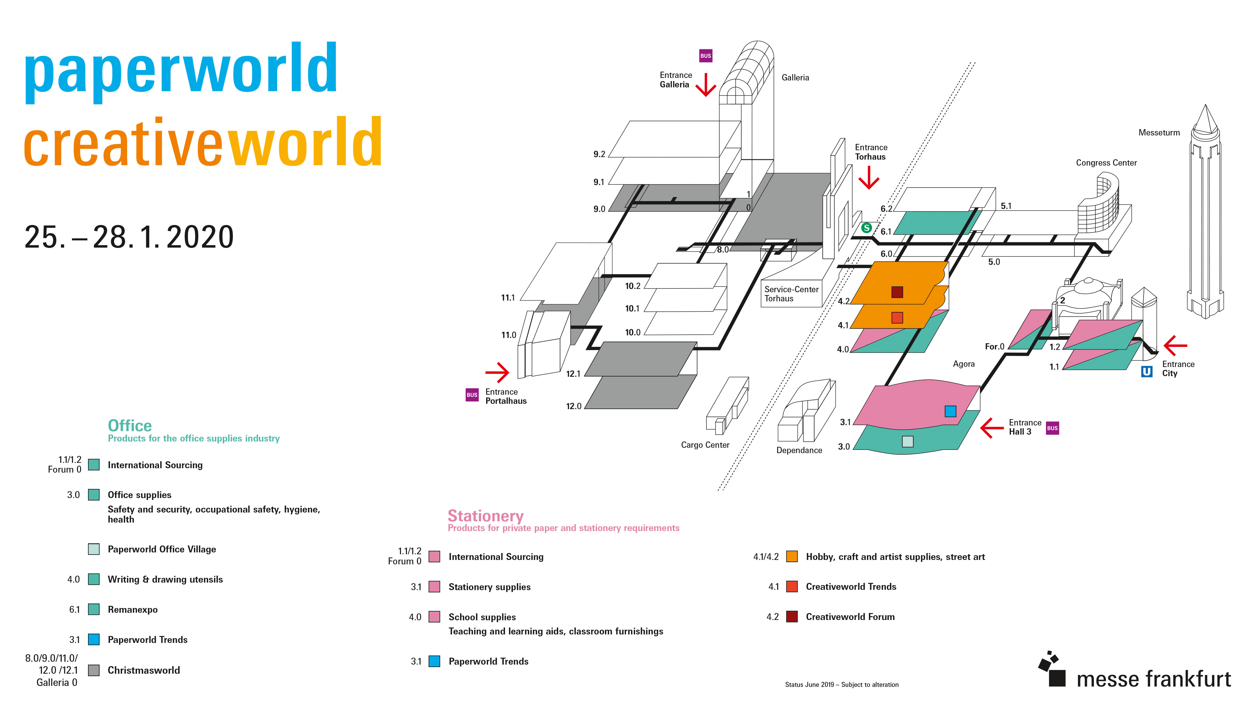 Exhibition hall plan for Creativeworld and Paperworld 2020